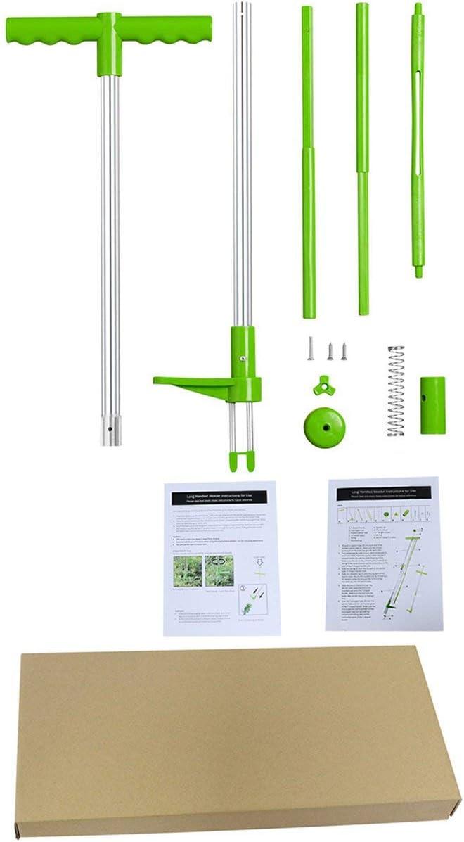 Timetided Extractor de Paja escarificador Excavadora de raíces de Tubos de Aluminio Excavadora de Hierba Escarificador Conveniente Herramientas de deshierbe de Mano - Verde