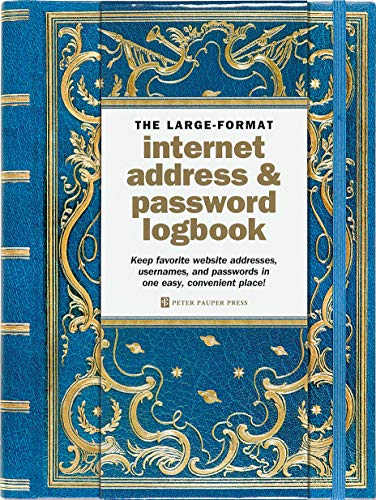 Celestial Large-Format Internet Address & Password Logbook (removable cover band for security) (Best Way To Save Passwords)