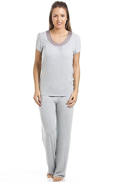 Camille - Conjunto de pijama largo para mujer - De modal - Gris 42