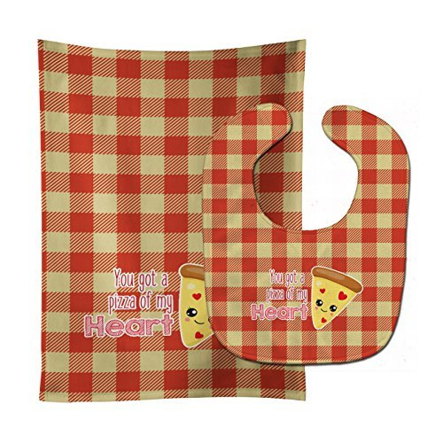 Caroline's Treasures You Got A Pizza of My Heart Baby Bib & Burp Cloth, Multicolor, Large