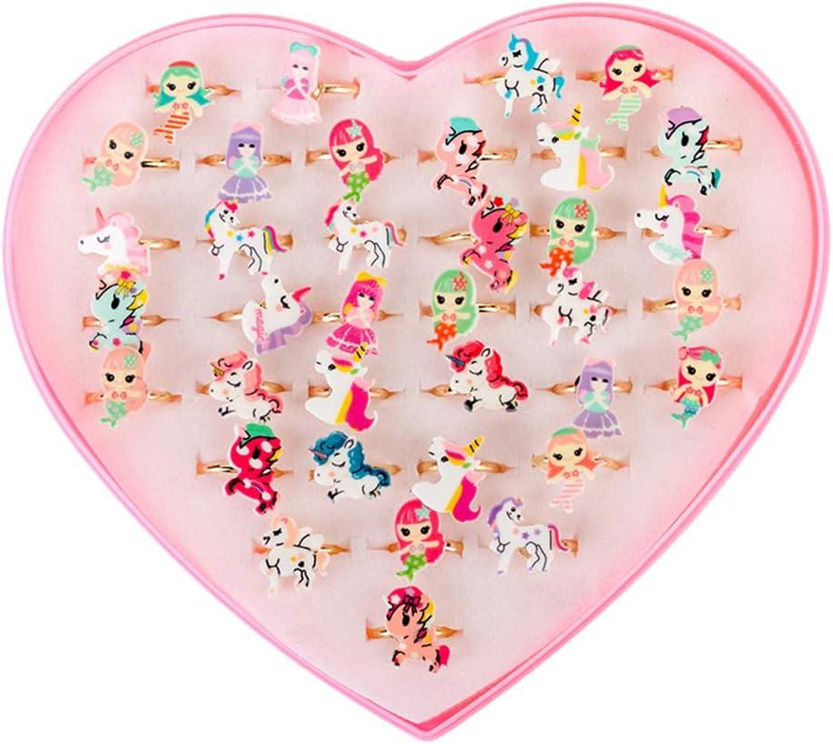 Toyvian 36 unids niña Anillos de Unicornio en Caja Unicornio de Fiesta favorece Regalos de cumpleaños para niñas (patrón Aleatorio)