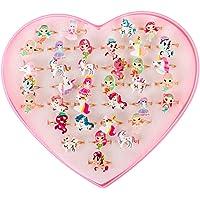 Toyvian 36PCS Mermaid Unicorn Shape Diamond Rings Girls Adjustable Jewel Rings in Box (Random Pattern)