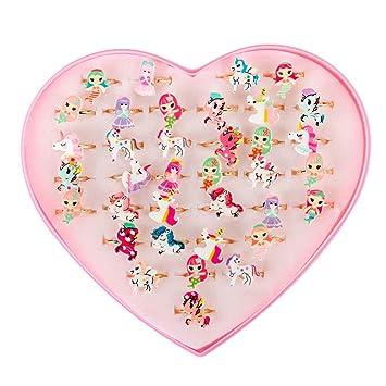 STOBOK Anillos de Regalo de Joyería de Sirena Unicornio con Caja para Fiesta de Cumpleaños de