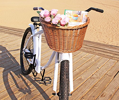 Colorbasket 01563 Adult Front Handlebar Wicker Bike Basket, Natural Color