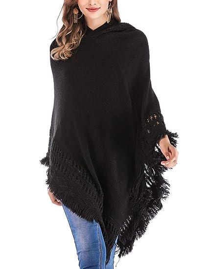 Dodoing Women Hooded Cape Sweater Pullover Fringed Hem Crochet