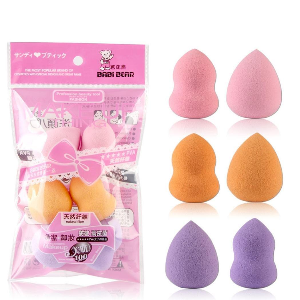 6PCS Esponja Maquillaje Beauty Blender de Barato para Bases, Coloretes y Polvos por ESAILQ