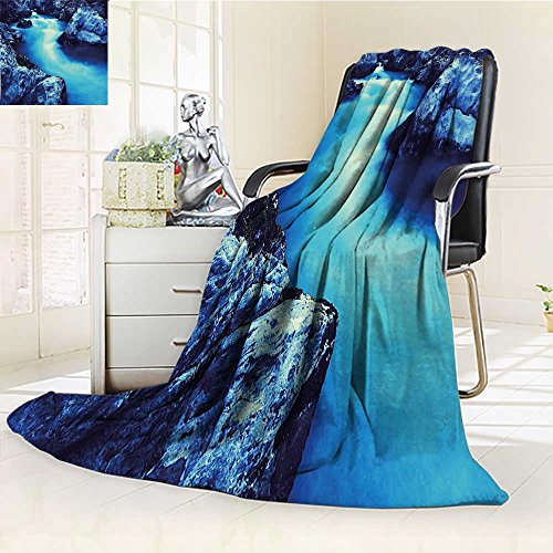 AmaPark Lightweight Blanket Waterfall Frozen Dangerous with Atmosphere of a Cave and Snow on The Rocks Blue and Black Digital Printing Blanket ()