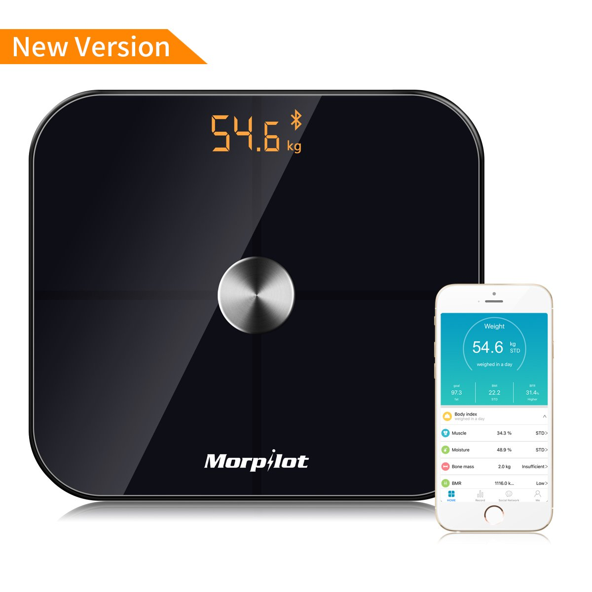 Bluetooth Body Fat Scale,17 Body Metrics, Morilot Smart Digital ITO BMI Weight Bathroom Scale,Body Composition Analyzer Health Monitor with iOS and Android APP, 396 lbs