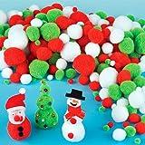 Pack économique de pompons de Noël pour les loisirs créatifs, le collage et les cartes (Lot de 210)