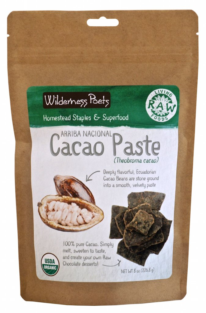 Wilderness Poets Organic Cacao Paste - Made from Stone Ground, Raw 100% Cacao Beans (8 Ounce)