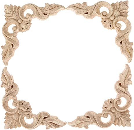 4x Unpainted Wooden Carved Corner Applique Frame Onlay Furniture Decoration