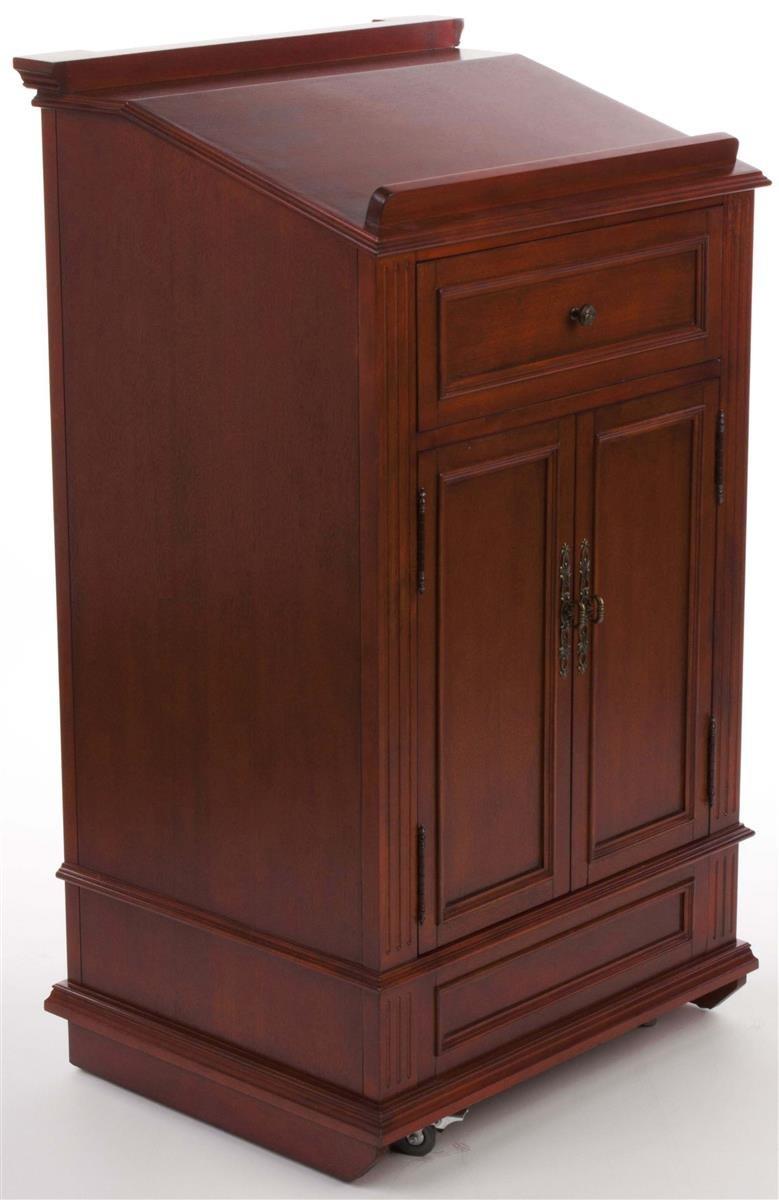 Displays2go Restaurant Hostess Station, Mahogany Podium with Cabinet and Drawer, Rolling (LCTCL27DC) by Displays2go