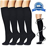 Compression Socks for Women & Men - 4 Pairs - Best For Running, Athletic Sports, Flight Travel and Pregnancy - 15-20mmHg