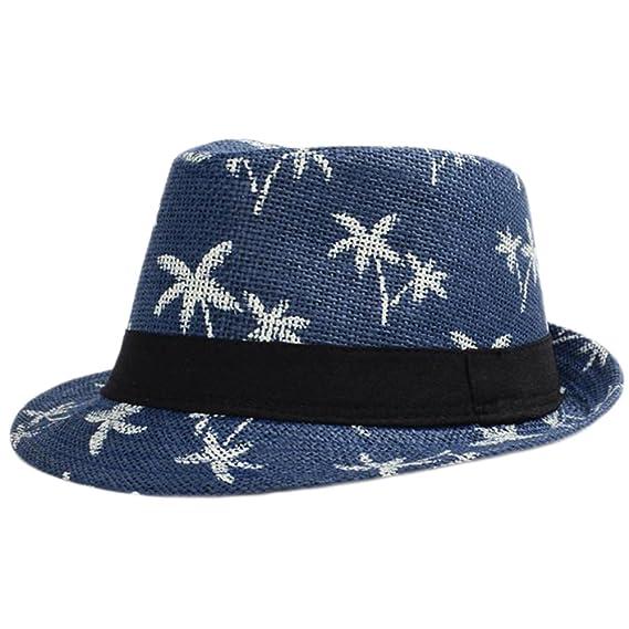 Leisial Sombrero Playa Paja de Viajes Vacaciones Verano Gorro Estilo  Británico para Hombre Azul oscuro  Amazon.es  Ropa y accesorios 0c6a8bcbffd