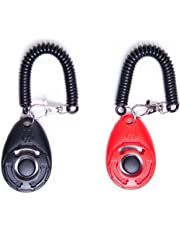 LaZimnInc Dog Training Clicker with Wrist Strap - Pet Training Clicker Set, 2-Pack(Red + Black)