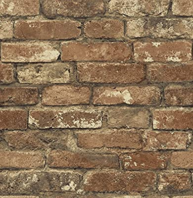 Chesapeake MAN20097 Oxford Brick Texture Wallpaper, Rust