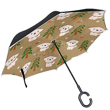 ALAZA cachorro perro nieve árbol nuevo años puede paraguas paraguas de doble capa resistente al viento
