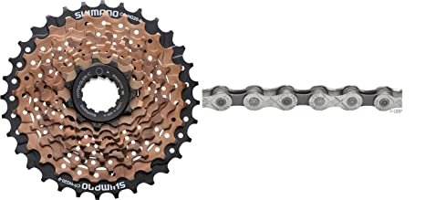 0301b159f2d Image Unavailable. Image not available for. Color: Shimano CS-HG20 Hyperglide  9 Speed 11-34T Brown Bicycle Cassette ...