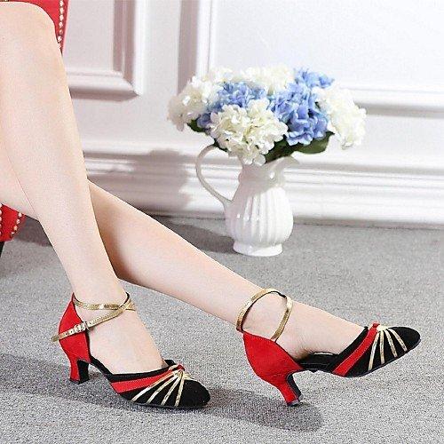 T.T-Q Zapatos de Baile de Mujer Flocado Tacón Grueso Rojo rojo