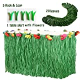 Merrynine Hawaiian Party Decorations Set Including 9ft Table Skirt, 20 Pieces Tropical Palm Leaves Gift 5 Pieces Hook Loop