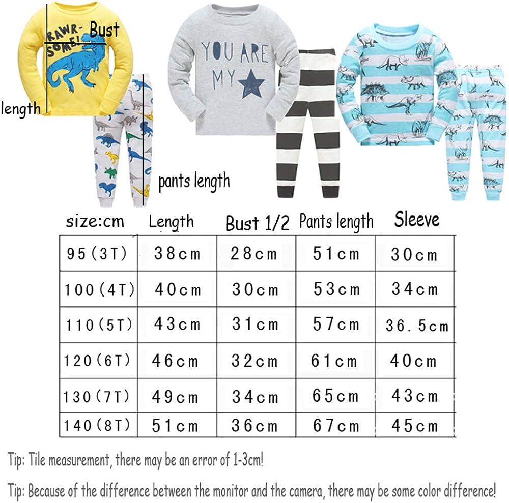 Boys Pyjamas for Kids Pjs Christmas Toddler Clothes 100/% Cotton Long Sleeve Nightwear Sleepwear Set Dinosaur Pattern