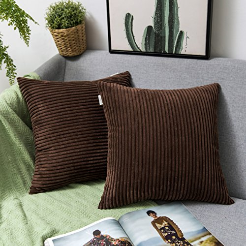 Vertical Spring Mix (Jeanerlor Home Decoration Super Soft Corduroy with Vertical Stripes Euro Throw Pillow Sham Cushion Cover for Sofa, 18x 18 inch (45 x 45 cm), Brown, Set of 2)