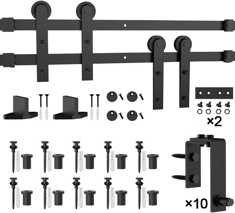 5-16FT for Choose Heavy Duty Winsoon 8FT Bypass Sliding Barn Door Hardware Kit for Double Doors Low Profile Overlapping Tracks