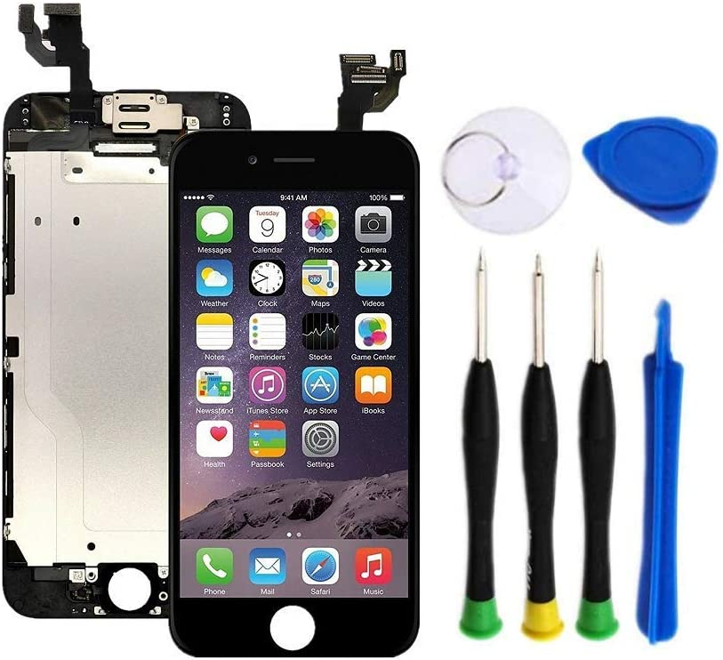 Premium Screen Replacement Compatible with iPhone 6 Plus 5.5 inch(Model A1522, A1524, A1593) with Front Camera, Ear Speaker and Sensors. (Black)