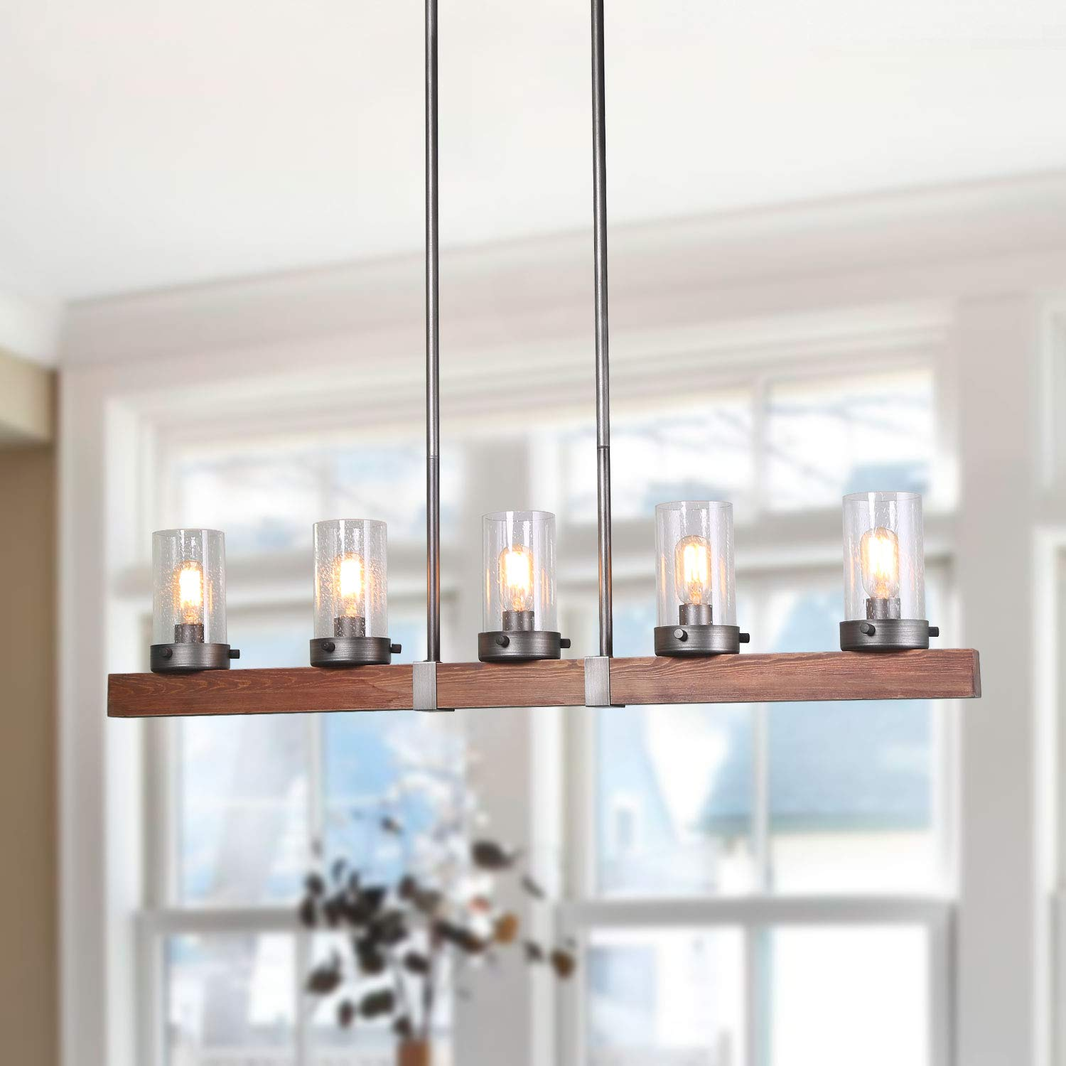 LNC Pendant Lighting for Kitchen Island Farmhouse Chandeliers for Dining Rooms, A03347,