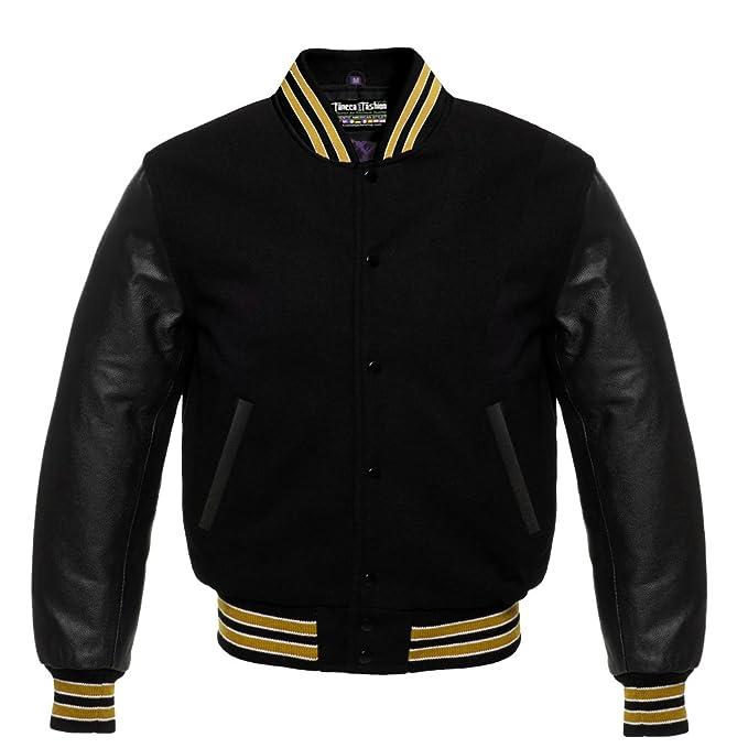Amazon.com: Varsity - Chaqueta de letras de lana negra ...