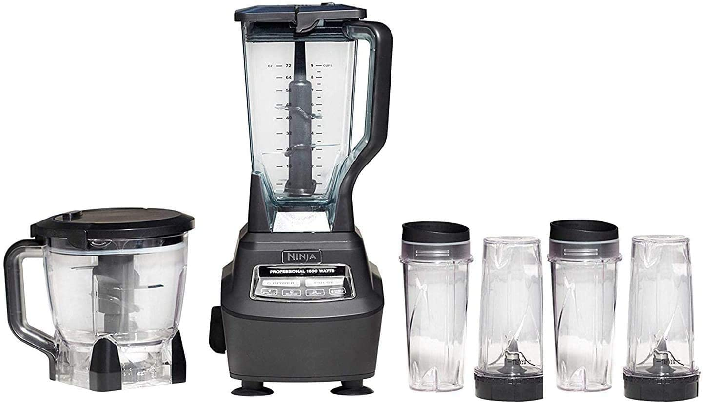 Mega Kitchen System (BL770) Blender/Food Processor with 1500W Auto-iQ Base, 72oz Pitcher, 64oz Processor Bowl, (4) 16oz Cup (1500W 72oz Blender + 64oz Processor & 4 ToGo Cups)