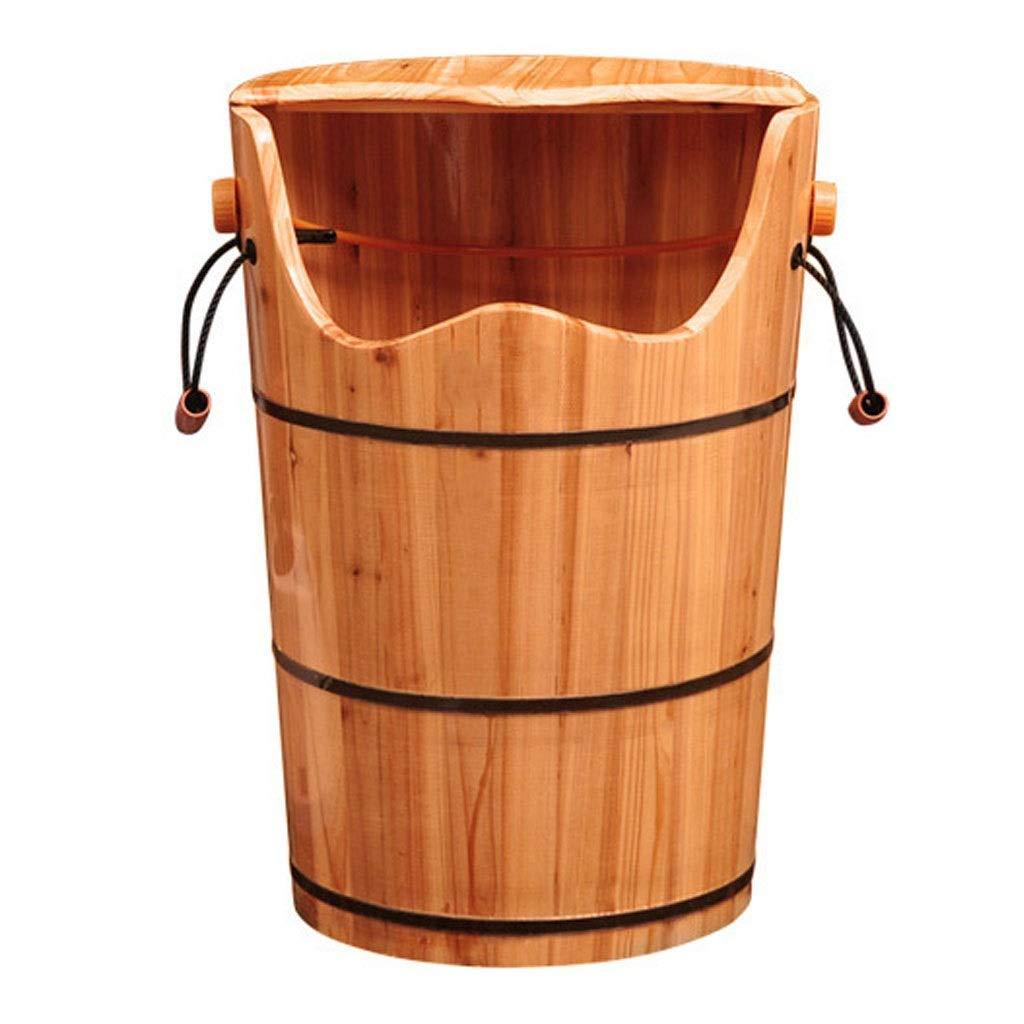 マッサージクッション フットバスバレル 燻蒸用バケツ 健康フットバスバレル 木製フットバス 暖房用スチーム ホームオーバーニーハイバレル 親の贈り物 (Color : Wood color, Size : 41x60cm) B07TTHMH4B Wood color 41x60cm