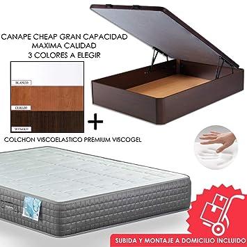 MICAMAMELLAMA Canapé de Madera Cheap + Colchón viscoelástico Reversible Premium - Montaje Incluido (Blanco, 135x190): Amazon.es: Hogar