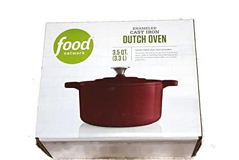 Food Network 3 5 Qt Enameled Cast Iron Dutch Oven Red