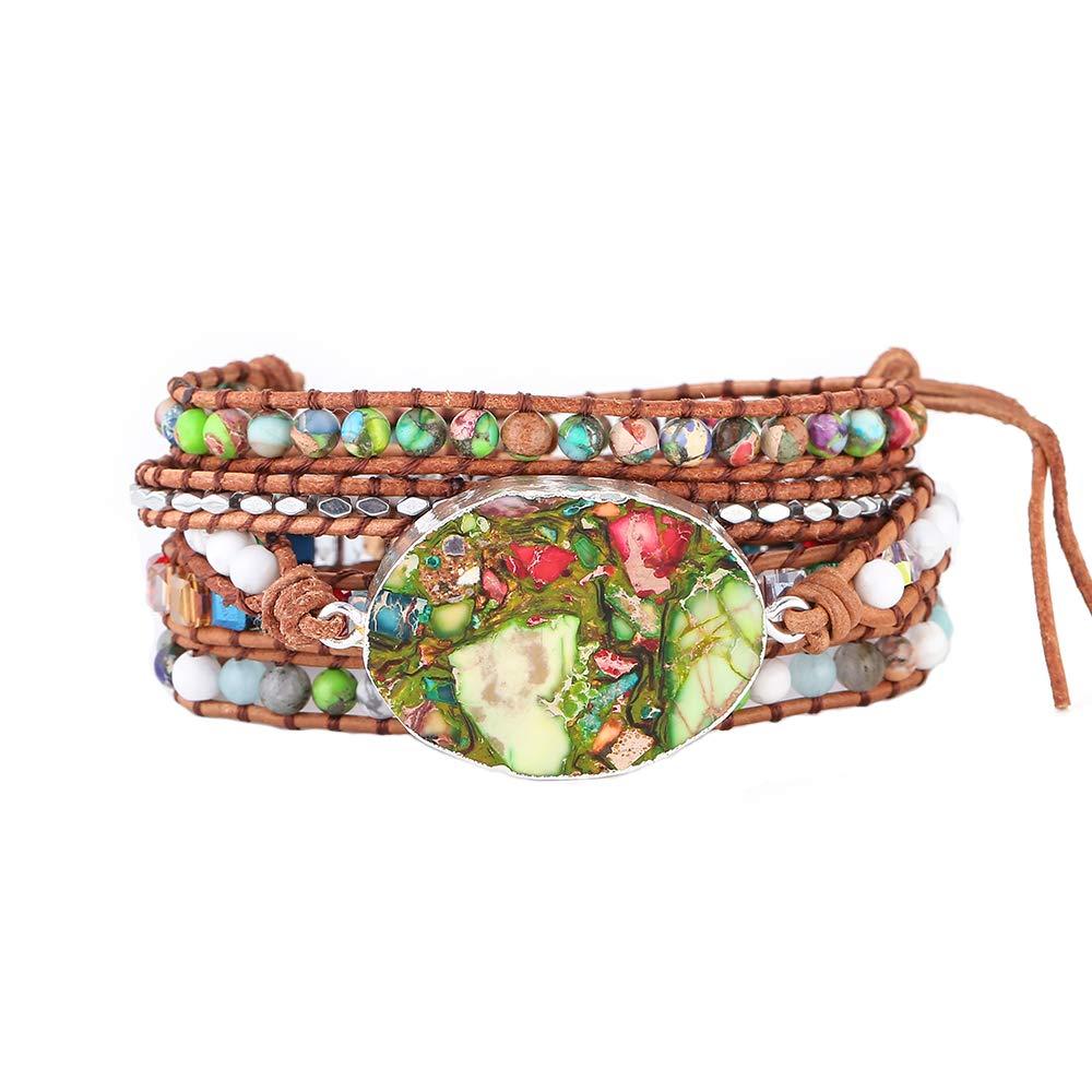 IUNIQUEEN Boho Rainbow Rhinestone Imperial Jasper Turquoise Mix Bead 5 Wraps Druzy Bracelet Collection (Silver)