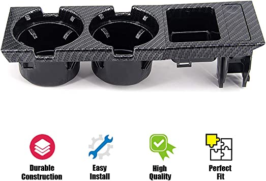 Fit Front Center Console Replaces 51168217953 Black USTAR Cup Holder for BMW E46 3 Series 1998-2005