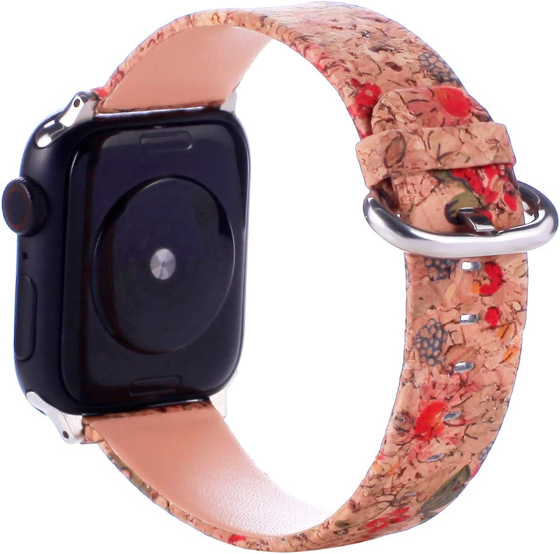 Wooden Leather Band Compatible with Apple Watch Band 38mm 40mm 42mm 44mm, Soft Natural Eco-friendly Replacement Strap Wristband Compatible with iWatch Series 5 Series 4 Series 3 Series 2 Series 1