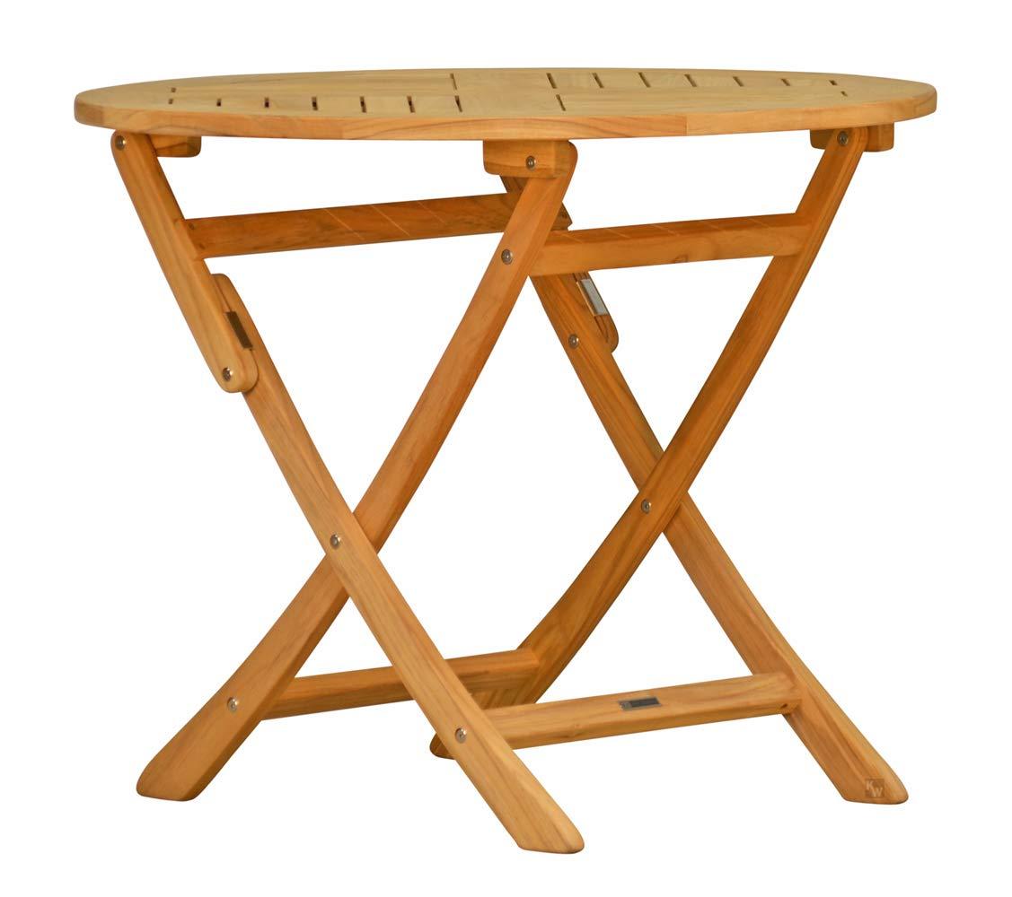 Kai Wiechmann Esstisch/Teak-Tisch/Rund/klappbar massiver Gartenklapptisch aus der Serie Ravenna hochwertig gefertigt aus Teakholz Ø 110 cm/Klapptisch/Gartenmöbel/Garten-Klapptisch /