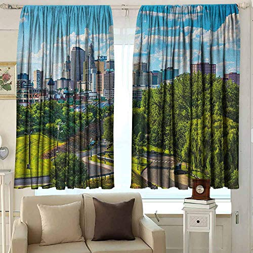 Waterproof Window Curtain United States Hartford Connecticut USA Downtown Cityscape Aerial View Modern Life Darkening Thermal Insulated Blackout 72 W x 63 L Inches Sky Blue Green -