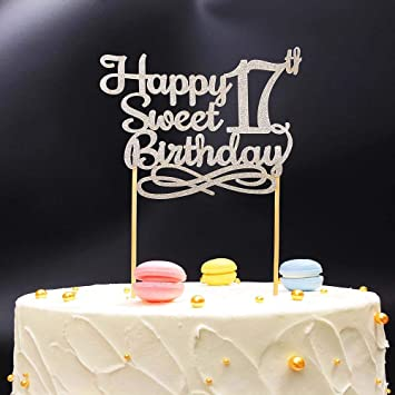 Silver Happy Sweet 17th Birthday Cake TopperSilver Paper Topper Party
