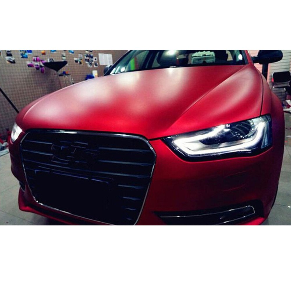 Hoho vinile rosso opaco satinato cromato stretch film Car Wrap Air Bubble free 152,4/x 50,8/cm