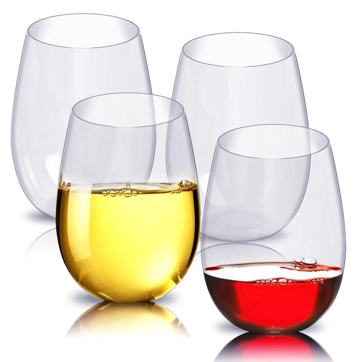 JYPC Unbreakable Stemless Wine Glasses,100% Tritan Shatterproof Plastic Wine Glass,16 OZ(Set of 4)