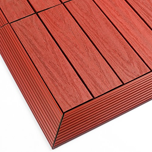 NewTechWood US-QD-OF-ZX-SR 1/6 x 1 ft. Quick Composite Deck Tile Outside Corner Trim in Swedish Red (2-Pieces/Box)