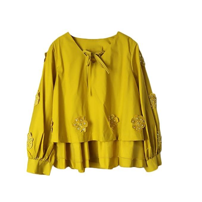 Camiseta Mujer Elegante Clásico Especial Manga Larga V Cuello Anchas Vintage Hippie Moda Dulce Lindo Blusa Tops (Color : Amarillo, Size : One Size): ...