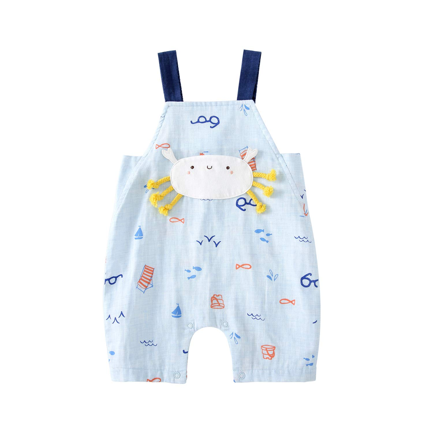 pureborn Baby Boy Girl Cartoon Overalls Summer Cotton Jumpsuits Romper Pants Outfits