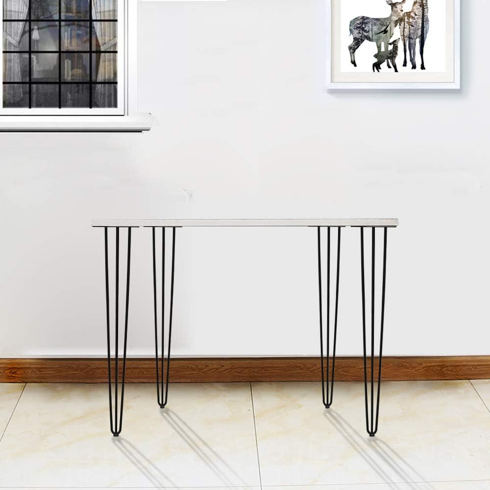 4er Haarnadel Tischbeine Schreibtisch Tischbeine Austauschbare Haarnadelbeine Tischgestell 15cm mit Doppelstab Bodenschoner und Schrauben Verf/ügbar in H/öhe von 15cm-72cm