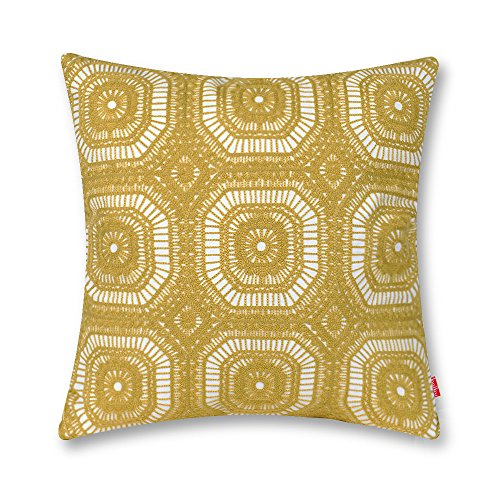 baibu Crochet Embroidered Cushion Cover Unique Pattern Designs Throw Pillow Cover Yellow (Pillows For Couch Crochet)