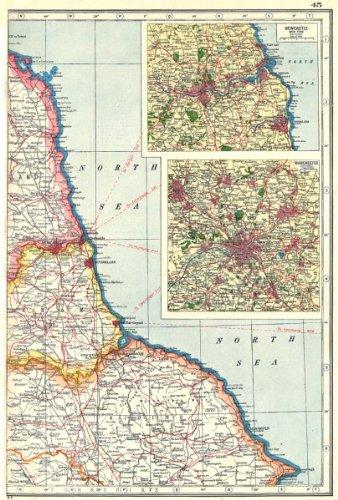 Map Of England East Coast.Amazon Com North East England Coast Durham Yorks Northumbs