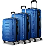 Wanderlite 3 Pcs Lightweight Luggage Hard Suitcases and Scale, Blue
