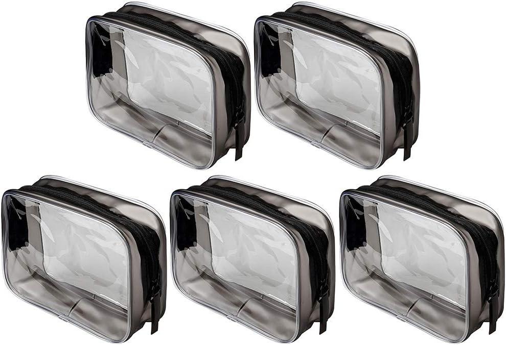 Siming - 5 bolsas de maquillaje de PVC para cosméticos, neceser transparente con cremallera, impermeable, bolsa portátil para viajes: Amazon.es: Equipaje